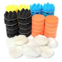 Mayitr 50pcs Set 3 80mm Colorful Sponge Waxing Buffing Polishing Pads Kit Set For Car Polisher