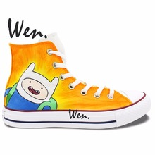 Wen Design Custom Hand Painted Sneakers Adventure Time Men Women's High Top Canvas Shoes for Birthday Christmas Gifts