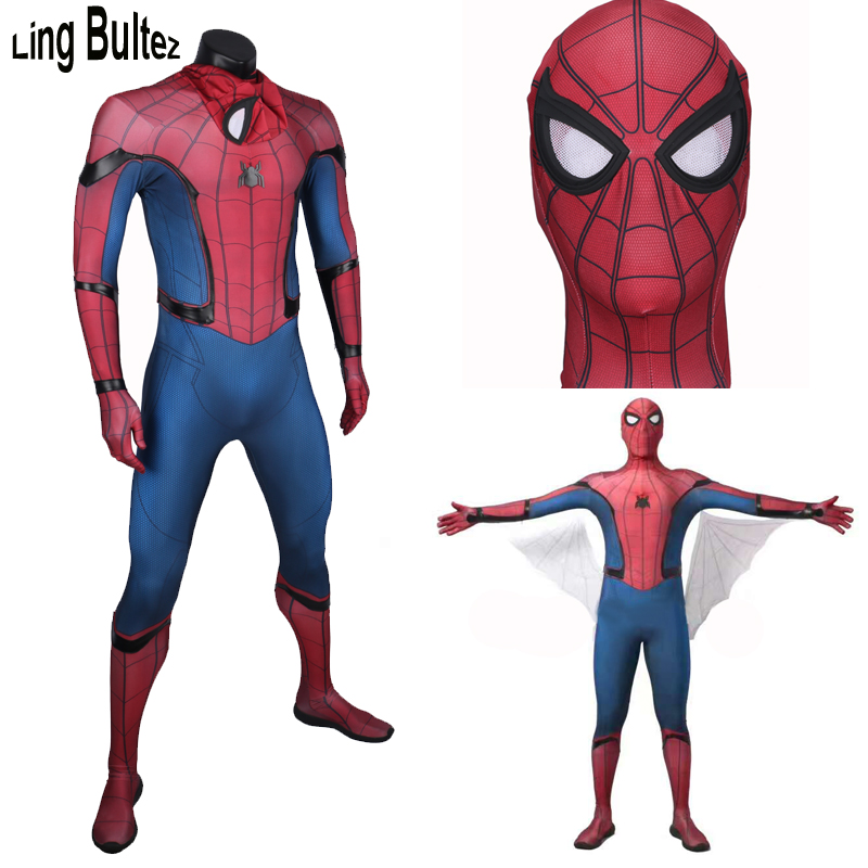 Ling Bultez High Quality Spiderman Homecoming Costume With Wings Tom Spiderman Suit Homecoming Spiderman Suit With Wings