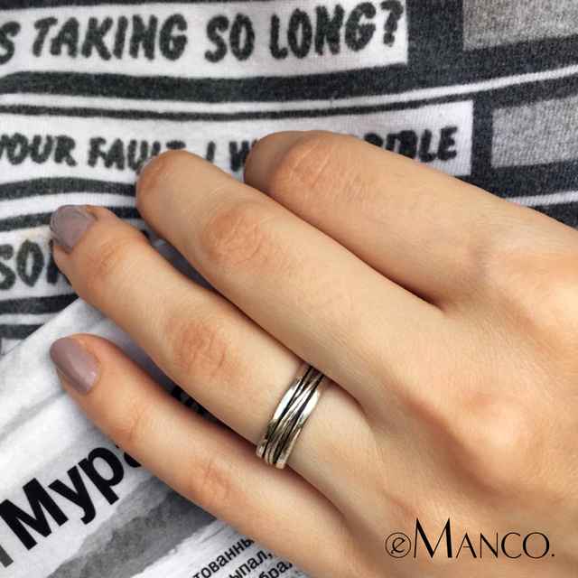 e-Manco 925 Sterling Silver Black Liner Rings Wedding Engagement Jewelry Punk Rock Rings Fashion Jewelry Best Gifts