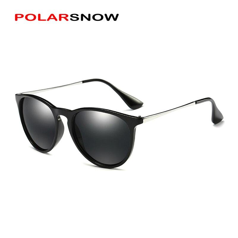 POLARSNOW LEGIERUNG + PC Top Qualität Polarisierte Sonnenbrille Frauen Marke Designer 2019 Runde Mode Sonnenbrille Spiegel Objektiv Oculos