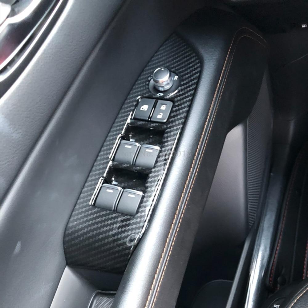 Carbon fiber Interior window switch panel cover Tirm For Mazda CX-5 2017-2019