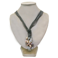 36 inches Grey Leather Multicolor Oval Pearl Leather Cord Necklace for Women