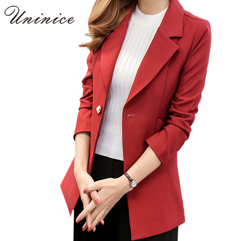 2016 Women Blazers & Jackets Simple Blue/Red Blazer Women Blazer ...