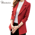 2016 Women Blazers & Jackets Simple Blue/Red Blazer Women Blazer Coat Casual One Button Outerwear Blazer Female Women Coat