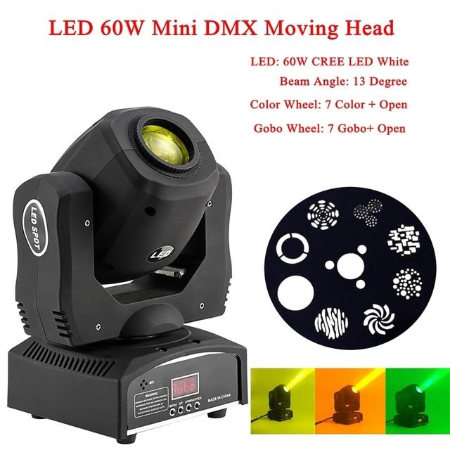 NEW High Brightness Music Center LED 60W Mini DMX512 Moving Head Light Disco DJ Party Bar Flash Light LED Laser Stage Lighting