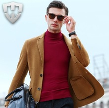 MWAMI High Quality 2015 Men Double-sided 70% Wool Business Wedding Groom Super Slim Fashion Formal Suits Blazers Autumn Winter