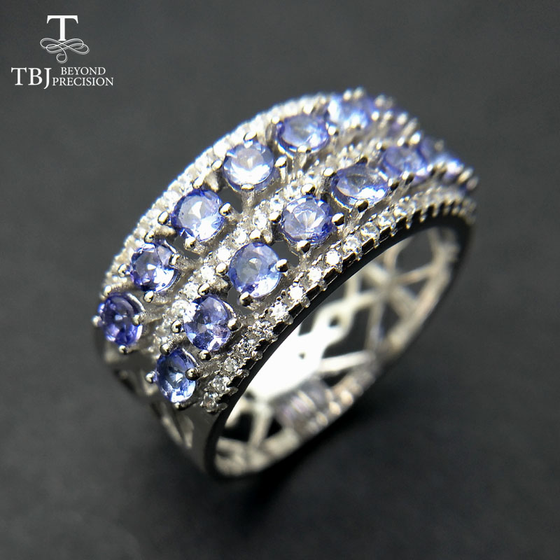 TBJ 100 natural Blue tanzanite gemstone ring luxury and classic gemstone design in 925 sterling silver