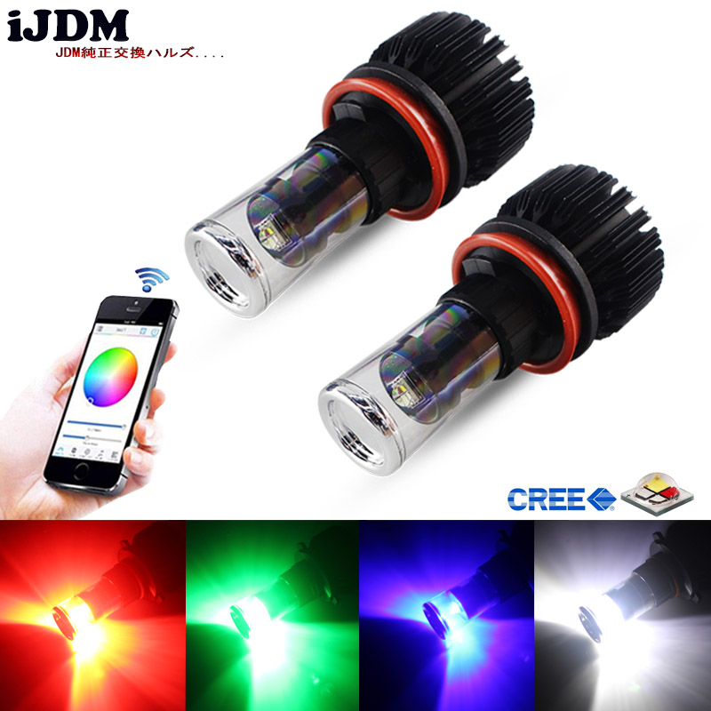 iJDM Car Headlight H11 LED RGB Chips H8 LED Replacement Bulbs Smartphone App-Controled For Car Fog Lights or Driving Lights 12v