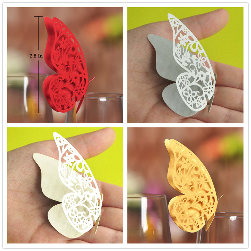 50xLaser Cut Butterfly Table Name Place Escort Card Wine Glass Cards Wedding Baby Shower Birthday Party Christmas Decorations