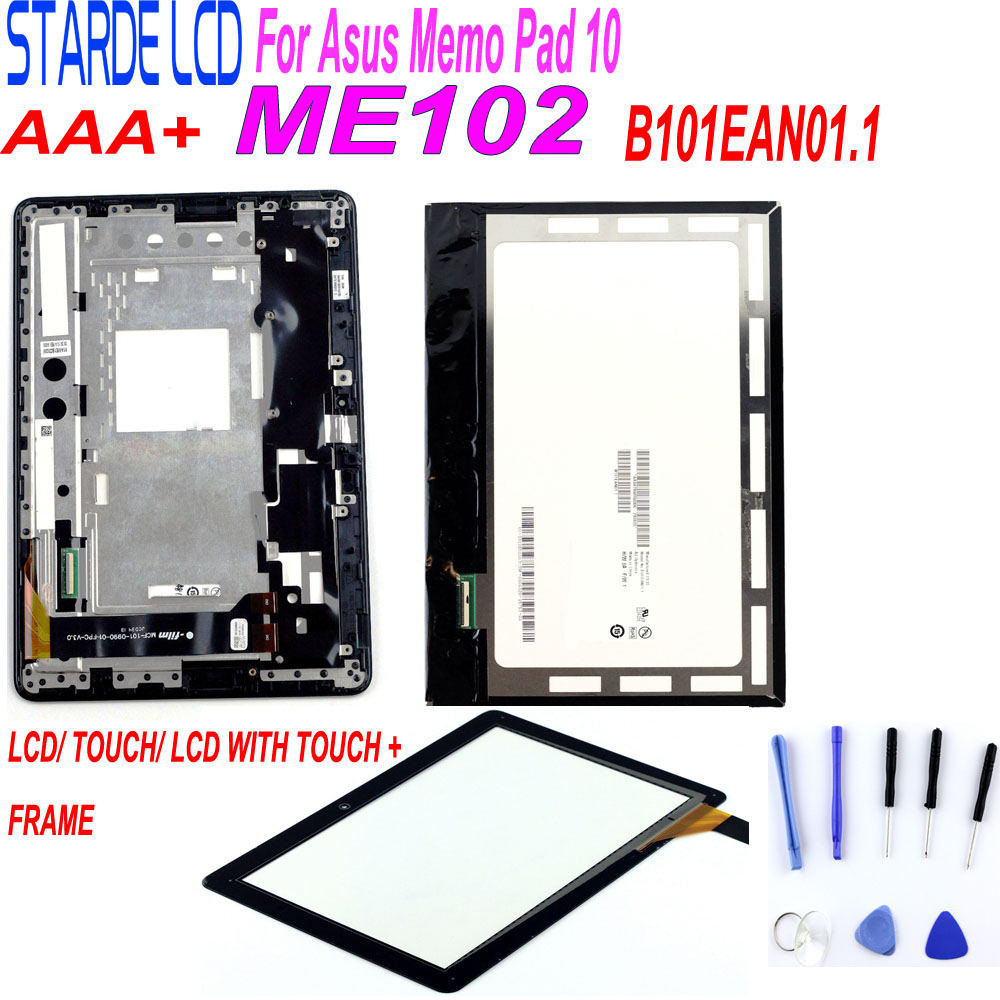 For Asus MeMO Pad 10 ME102 ME102A K00F Lcd Display Touch Screen Panel Matrix Monitor Digitizer Assembly With Frame +Free Tools