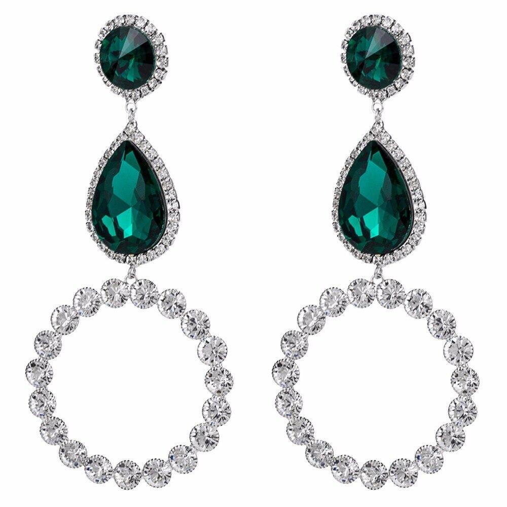 Qiaose Shiny Crystal Pendant Dangle Drop Earrings for Women Fashion Jewelry  Boho Maxi Collection Earrings Accessories d501bd747d45