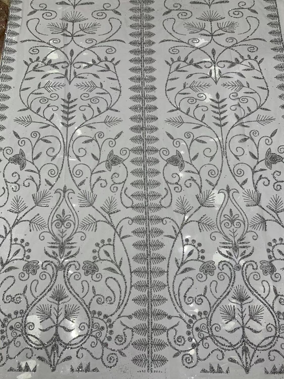 Silver Glitter Bling  Sequins Lace Accessories Handmade DIY  Wedding Dress  Glitter Lace Fabrics 5/Yards