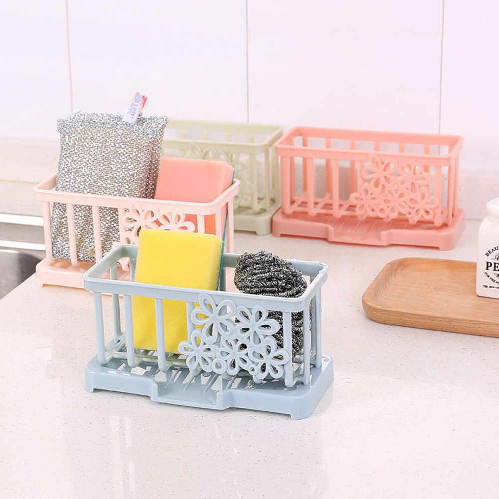 Hanging Sponge Holder Kitchen Sink Caddy Soap Draining Sider Faucet Saddle  Sink Organizer Brush Soap Storage Basket Bathroom