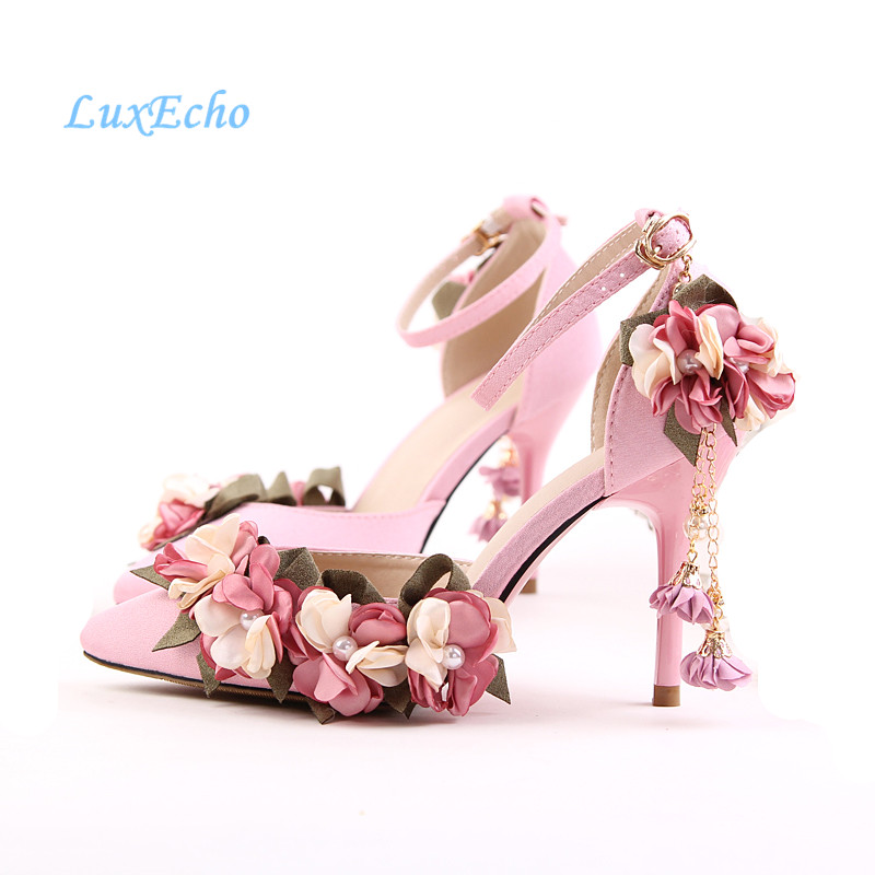 New Arrival White/Pink Flower Tassel Fashion Shoes Ankle Strap Woman's Party/Wedding shoes 9cm Heel pointed toe blet shoes womens fashion handmade ankle strap pointed toe party wedding flats shoes cke119