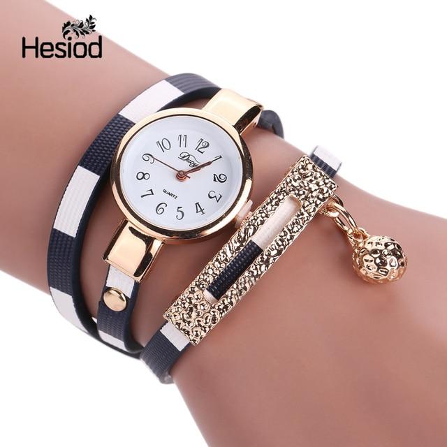 Fashion Bracelet Watch Women Small Quartz-watch Leather Quartz Watch Women Dress Wristwatch Gold Ball Pendant Charm