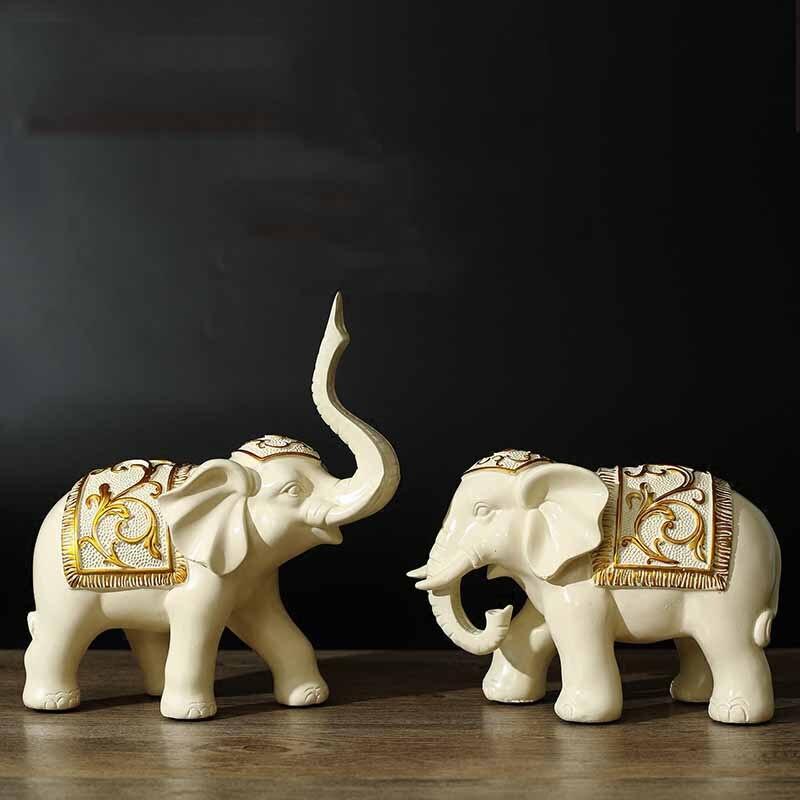 De style européen moderne décorations chanceux éléphant ornements Feng Shui comme paire de Fortune Wang Choi petit éléphant vin cabine