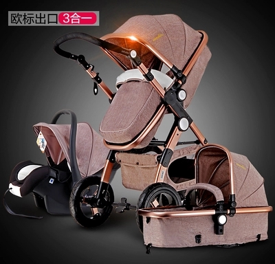 EU warehouse ship! Aluminium 3 in 1 baby strollers  kid carriage four wheels newborn Pram folding baby stroller Free ship gifts