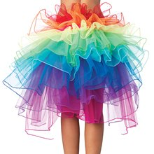 Ladys Rainbow Tutu Bustle Dancing Long Tail Skirt  girls Layered Bubble dress Organza with Unicorn Headwear