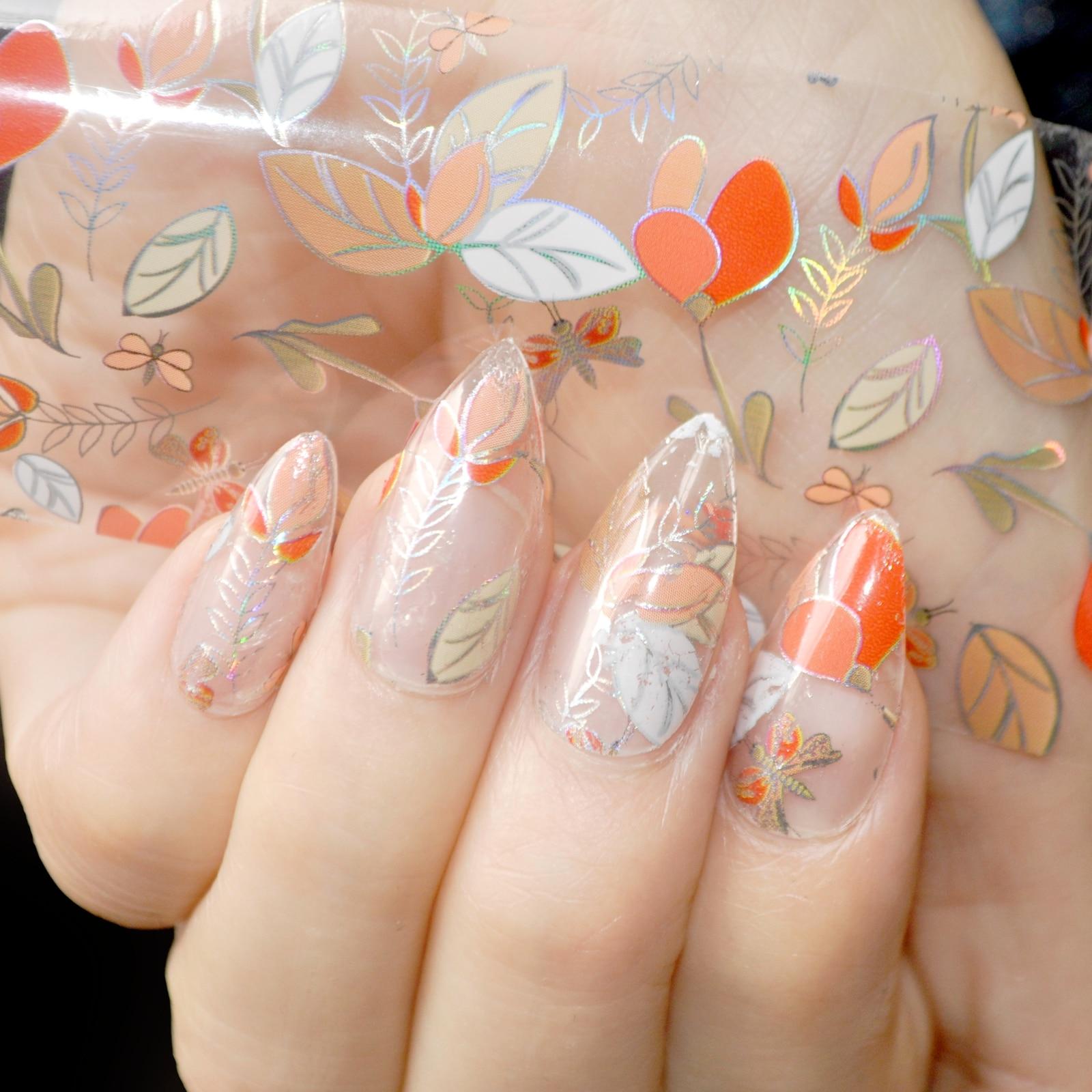 1 piece= 1meter Leaves Design Nail Art Glue Transfer Foil Sticker Laser Leaf Orange White Clear Base Nail Decoration Accessories
