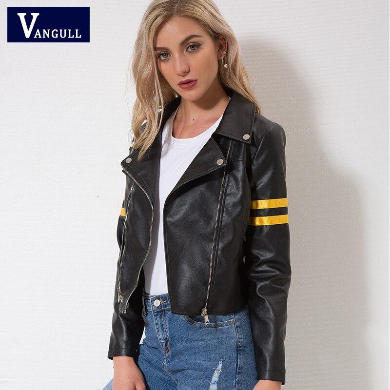 Vangull   Leather   jacket 2018 Spring New Women zipper moto Cool street wear Autumn winter coat Female Black Faux   leather   jackets