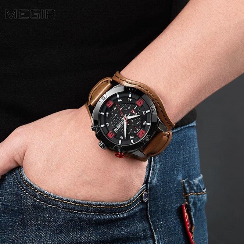 MEGIR Top Brand Luxury Watch Men Sport Watch Chronograph Military Army Male Wrist Watch Date Waterproof Clock relogio masculino