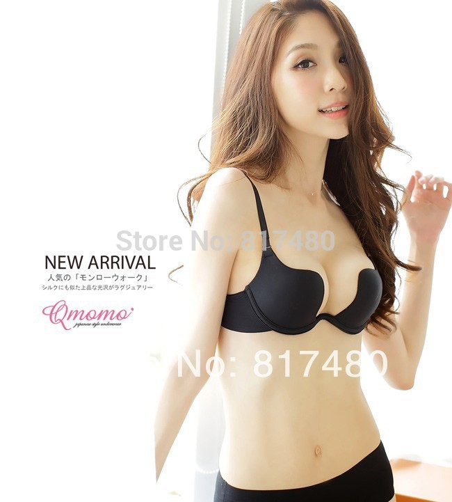 W cup sexy deep V neck 3 breasted push up young girl bra underwear ...