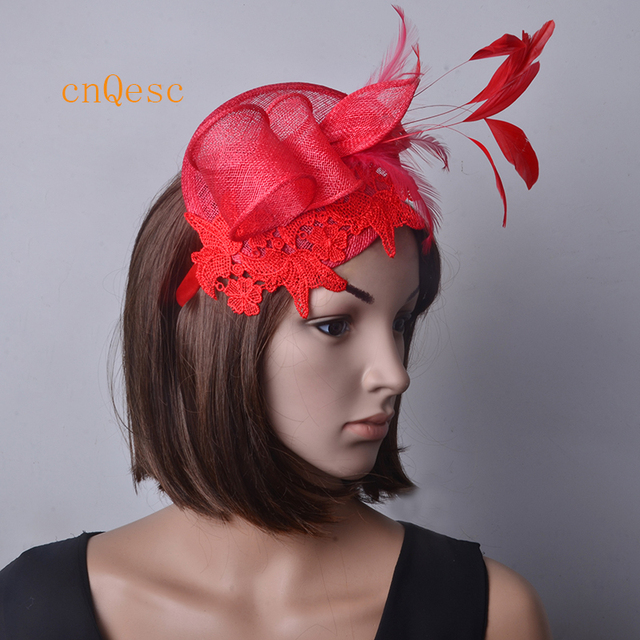 ee2f2a3d6d4 Red Small Lace fascinator sinamay hat wedding hat w cocktail feathers for Kentucky  Derby