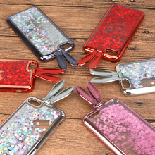 Фотография YOKATA Cute Red Rabbit Ears Bunny Bling Sequins Paillette Quicksand Flowing Case For iPhone 7 6 6s 6 Plus Soft TPU Phone Cover