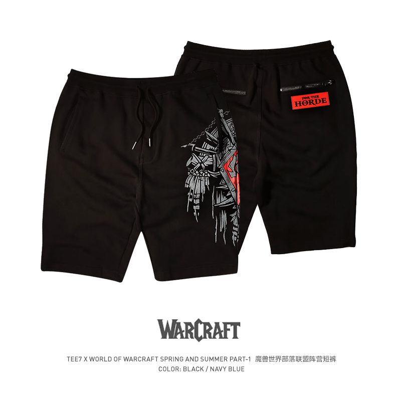 TEE7 Men's World Of Warcraft Shorts WOW Tribal Alliance Male Brand Beach Boxer Trunks Board Cotton Sport Loose Cotton Shorts