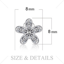 Sterling Silver Cubic Zirconia Stud Flower Earrings Jewelry