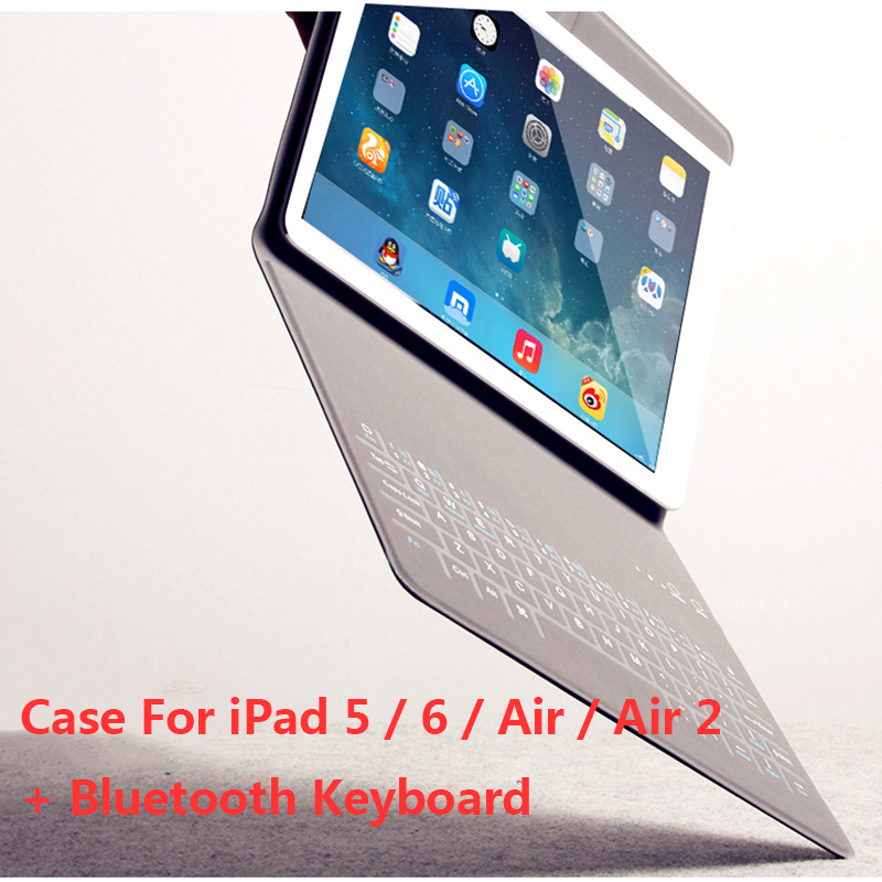 9.7 inch Case For iPad 5 / 6 / Air / Air 2 PU Leather Cover With Wireless Bluetooth Keyboard Portable Folding Folio Holster