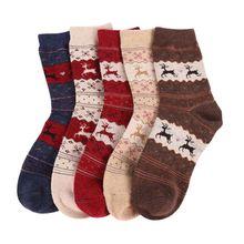 Deer snowflake xmas sock filler wool christmas socks warm gift winter
