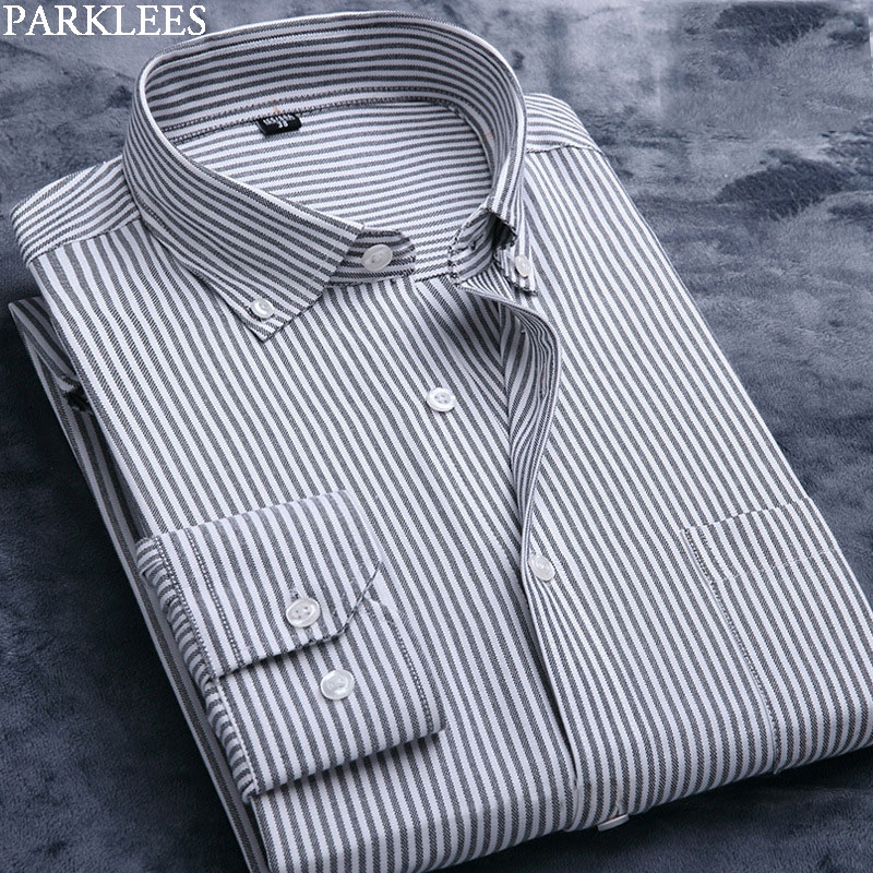 US $14.46 49% OFF|Black White Striped Shirt Men Soft Oxford Cotton Long Sleeve Male Pinstripe Button Down Dress Shirts Business Casual Work Camisa in