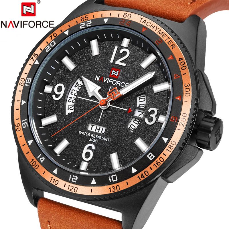 NAVIFORCE Men Watch Date Week Sport Mens Watches Top Brand Luxury Military Army Business Leather Band Quartz Male Clock New 9103 naviforce men watch date week sport mens watches top brand luxury military army business rubber strap quartz male clock new 9123
