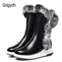 Gdgydh Animal Fur Women Snow Boots Flat Heels 2017 New Winter Cotton Shoes Woman With Zipper