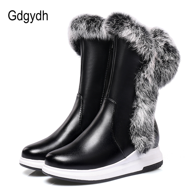 Gdgydh Animal Fur Women Snow Boots Flat Heels 2019 New Winter Cotton Shoes Woman With Zipper Black White Thick Plush Round Toe