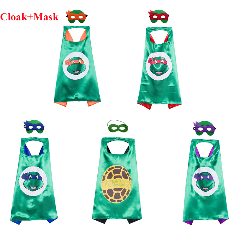 Ninja Turtles Mask Double Layer Cloak Teenage Mutant Ninja Turtles The Avengers Kid Birthday Gift Costume Cosplay Party Supplies(China)