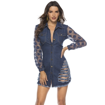 spring Long Sleeves Casual bodycon Dress Women Sexy Lace patchwork ripped Denim Dress Button party Mini Dress elegant Jean Dress 3