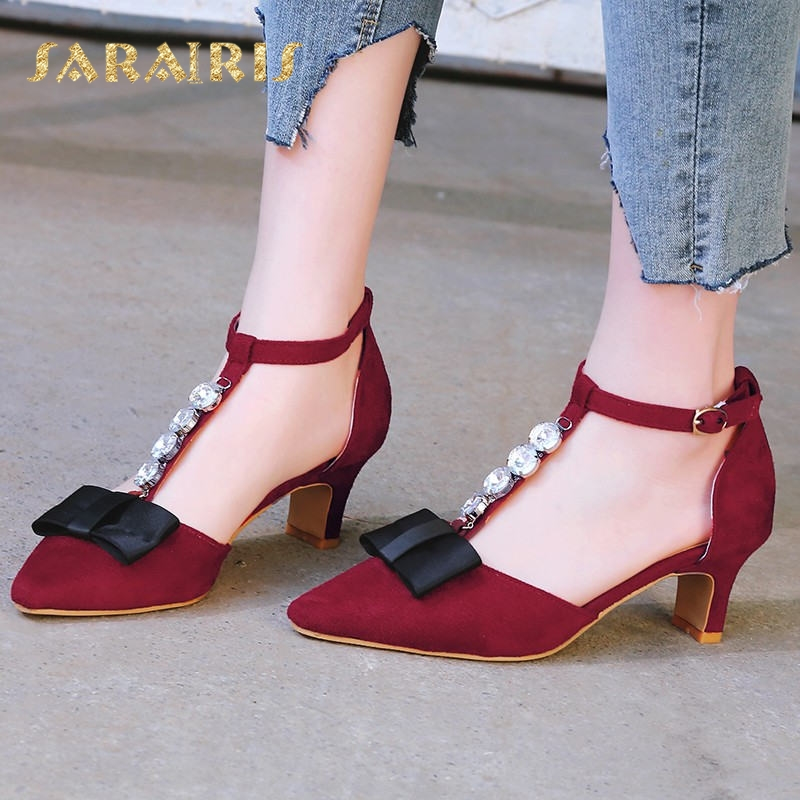 91811d79168 Sandals Size Heel Pointed 48 Shoes Rhinestone strap 34 Belt Large Summer  Chunky Wedding Cute Woman ...