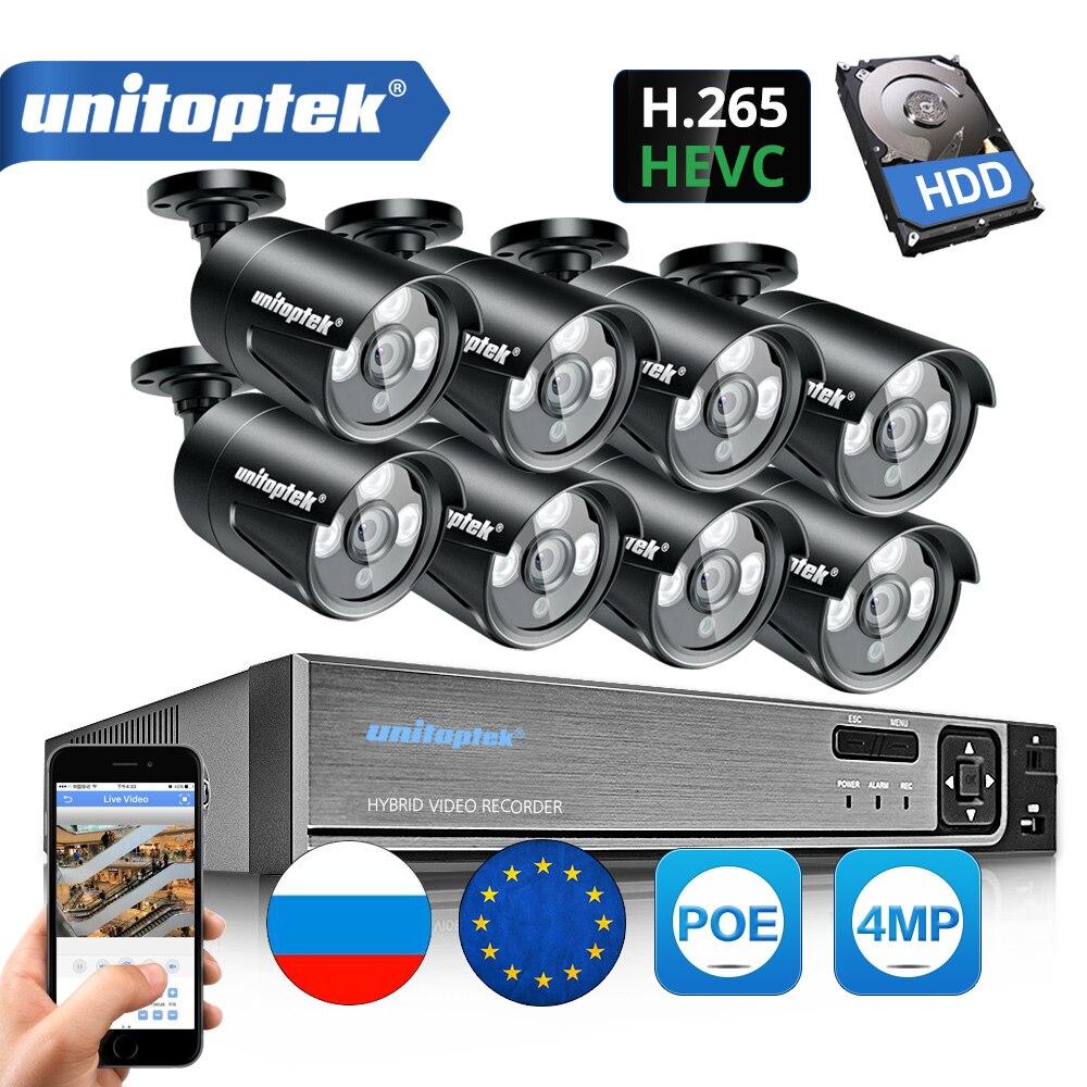 H.265 4MP 4CH 8CH POE NVR Com IP CCTV Sistema de Câmera de Segurança Kit Câmera de CCTV À Prova D' Água IP66 Sistema De Vigilância Por Vídeo XMEye