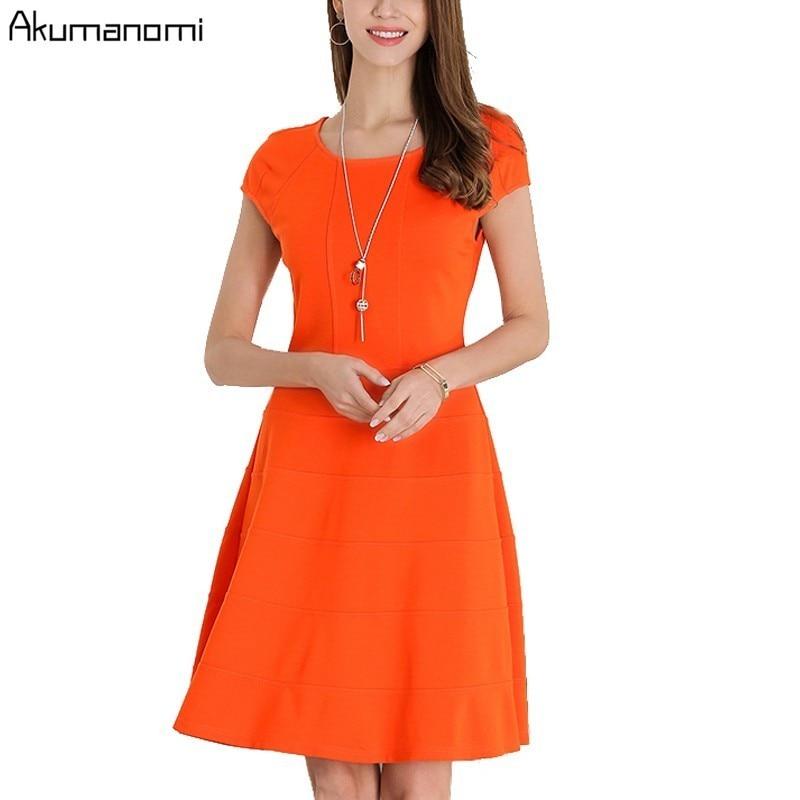 Summer Dress Women Clothing O-neck Short Sleeve Orange Navy Blue Cupcake  Dress High Quality aabb0ac223b7