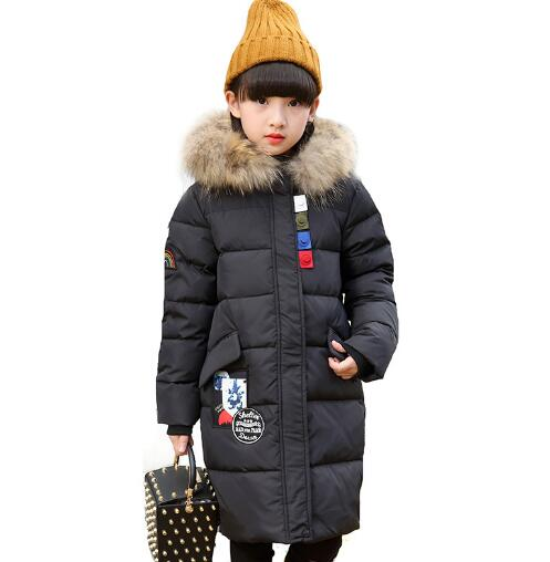 Fashion Girls Winter Coat Long Down Jacket For Girl Warm Parkas Children Hooded Outerwear Teenage Winter Jackets 6 8 10 12 14 Y girls winter coat casual outerwear warm long thick hooded jacket for girls 2017 fashion teenage girls kids parkas girl clothing