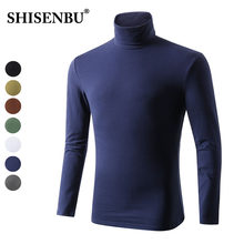95% Cotton Turtleneck Underwear Men Long Sleeve Mens Thermal Undershirt Navy Blue Coton Bodysuit Man Clothes Brown Canottiera(China)