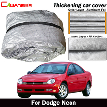 Cawanerl Three Layer Car Cover Waterproof Thick Cotton Anti-UV Sun Shield Rain Hail Snow Protect Car Cover For Dodge Neon