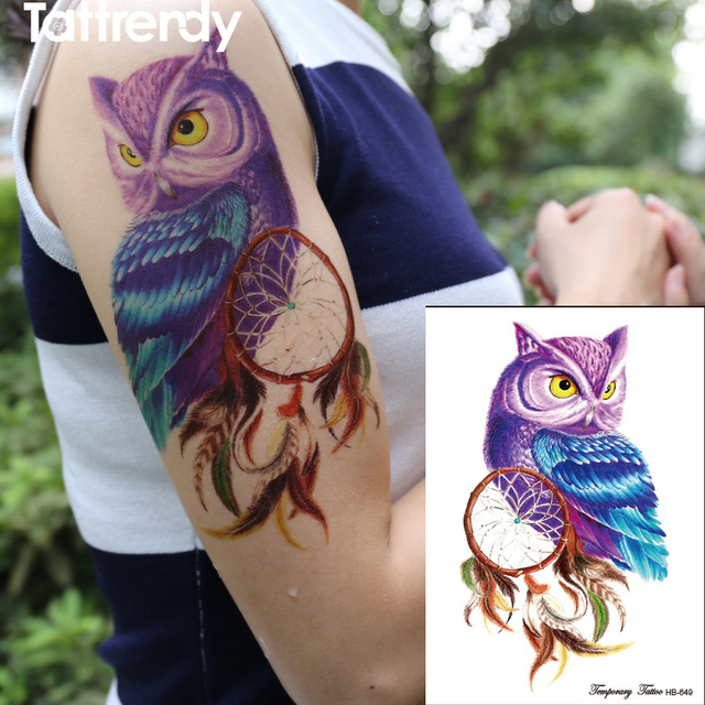 Us 0 86 35 Off 1piece Temporary Tattoo Color Owl Dream Catcher Tattoos Stickers Big Women S Waterproof On Body Arm Animal Dreamcatcher Hb649 In
