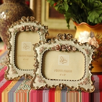Creative Vintage Flower Pattern Couple Decoration Frame 6 Inch Retro Resin Craft Photo Frame Home Ornaments porta retrato Gift
