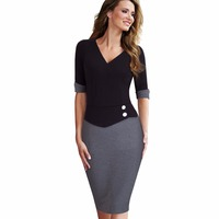 Women Casual Wear To Work Office Business Button Sheath Fitted Pencil Dress Elegant Classy V Neck