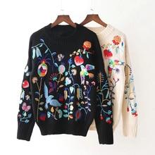 Las mujeres de punto bordado flor patrón de aves de invierno negro blanco  manga larga Hippie Boho Chic estilo de moda suéter 84f1558fa312