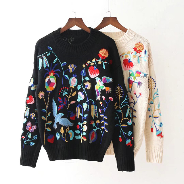 Women Knit Embroidery Flower Sweater Bird Pattern Winter Black White